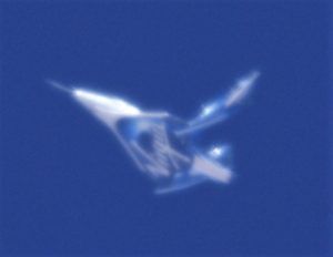 SpaceShipTwo with feathered wings