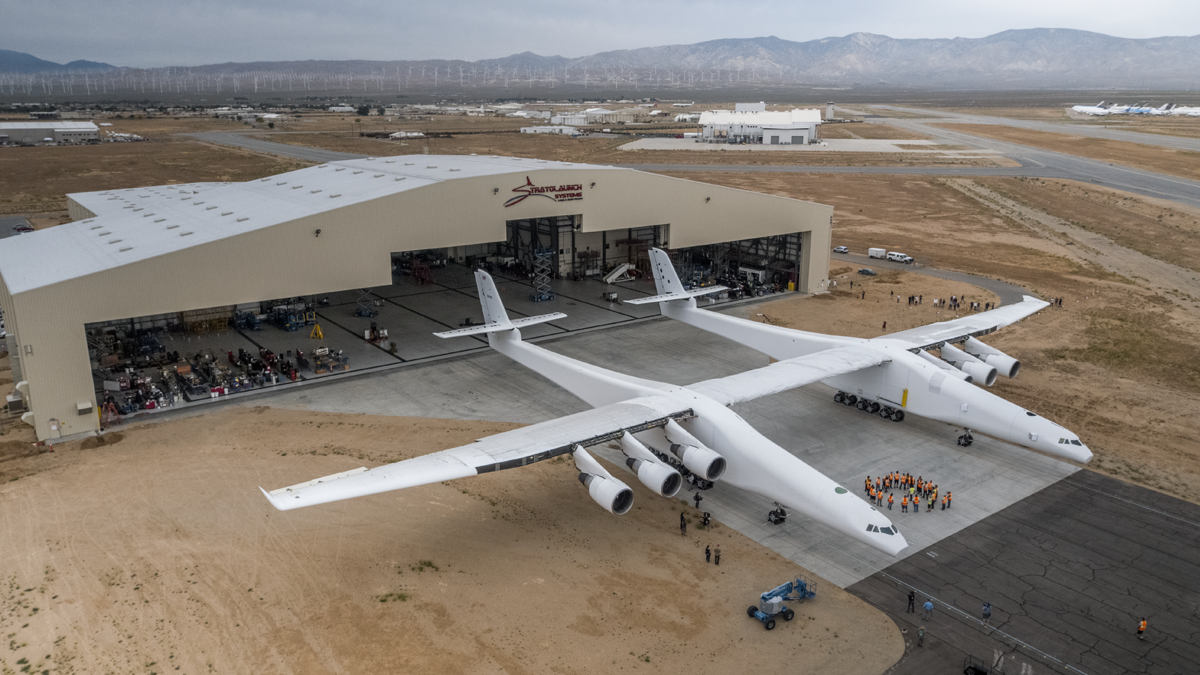 stratolaunch s monster airplane emerges from hangar for the first time geekwire. Black Bedroom Furniture Sets. Home Design Ideas