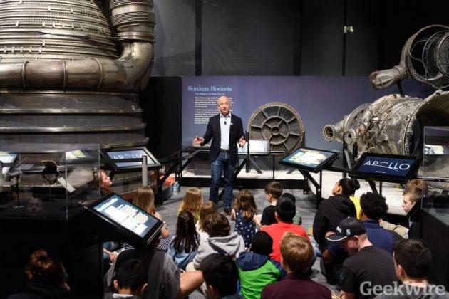 Bezos with Apollo-era rocket engines