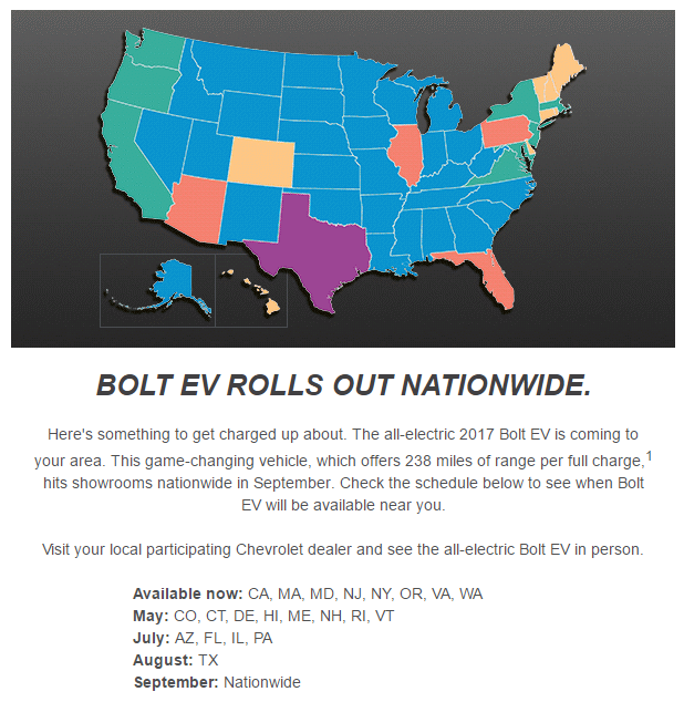 Chevrolet Bolt EV Availability, from an email sent by Chevrolet in early April