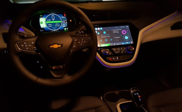 The Bolt EV dashboard at night