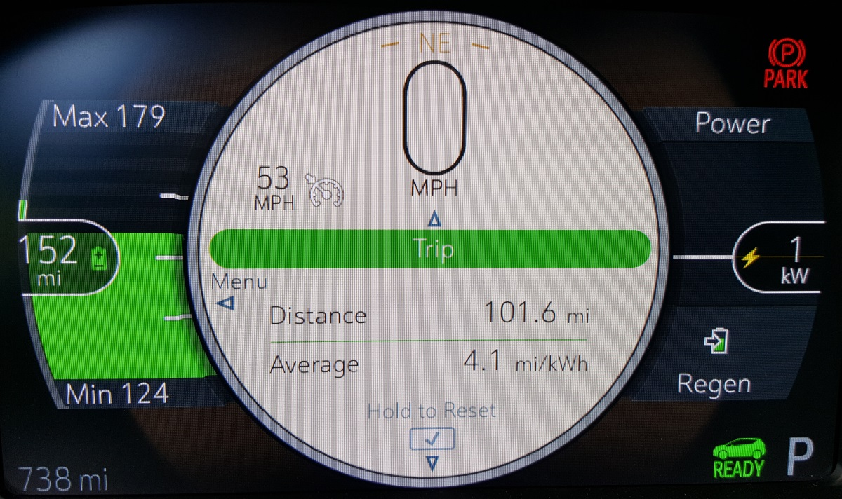 The Chevrolet Bolt EV battery status at the halfway point of a 203-mile trip to Leavenworth, WA