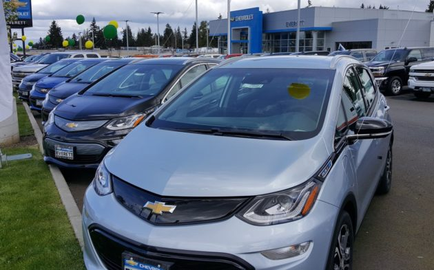 A row of Bolt EVs at Everett Chevrolet in late April