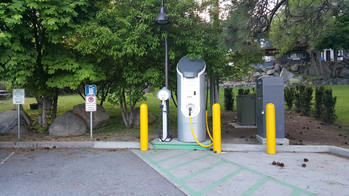 A for-pay EV charging station in Leavenworth, WA