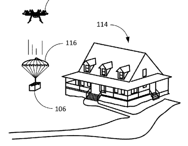 Amazon patents parachute shipping label for drone deliveries