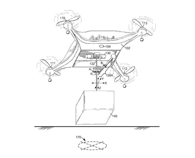 amazon patents delivery drone designs with adjustable arms and a  an amazon sketch shows a tether system to lower packages to the ground amazon illustrations via uspto