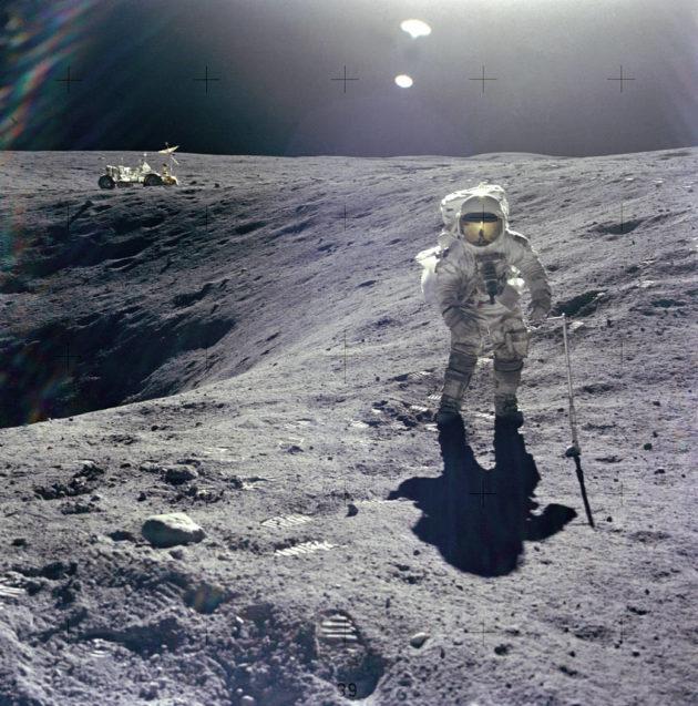 Charles Duke on the moon