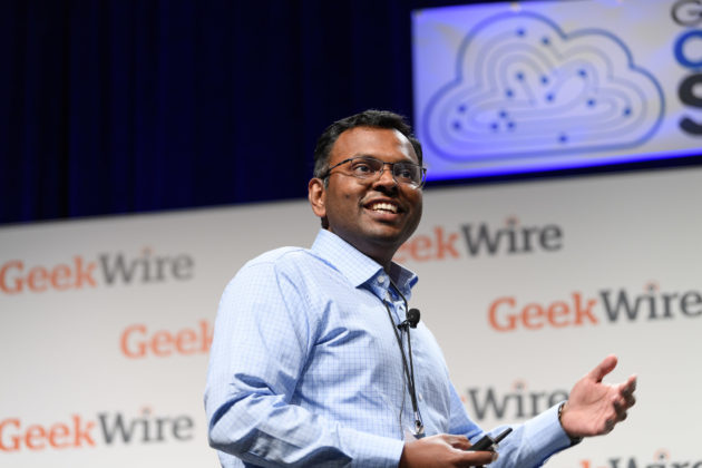 Swami Sivasubramanian, VP of AI for Amazon Web Services, speaks at the 2017 GeekWire Cloud Tech Summit.