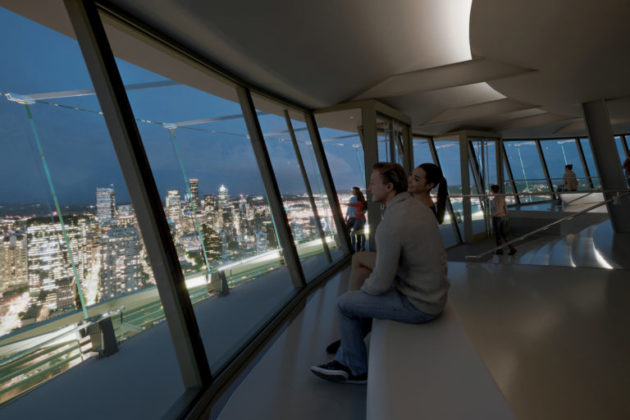 Space needle 100m renovation includes glass floors for Glass deck floor