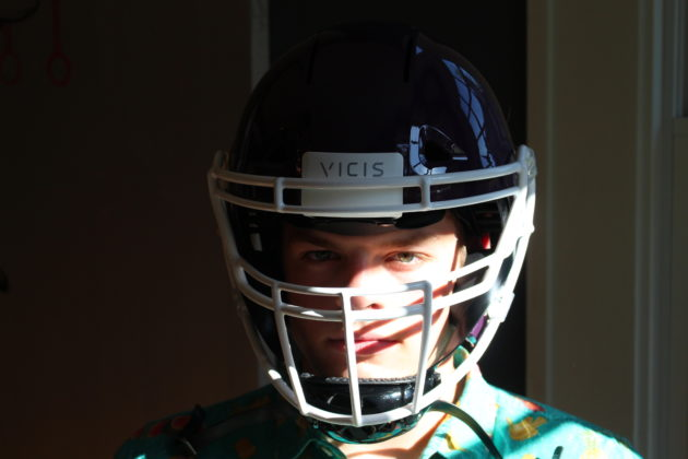 927bca0a339be Sam Treat is one of a handful of high school football players who will wear  the Vicis helmet this season. (GeekWire photo Chelsey Ballarte)