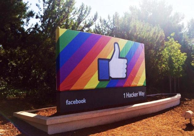 Facebook Pride sign