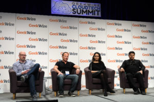 "(L to R): Charles Fitzgerald, Platformonomics; Frank Artale, Ignition Partners; Shelia Gulati, Tola Capital; S. ""Soma"" Somasegar, Madrona Venture Group"