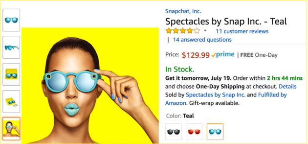 9f05e7fff1 Spectacles are now available on Amazon with Prime shipping. (Screenshot via  Amazon). Snapchat parent Snap Inc. ...