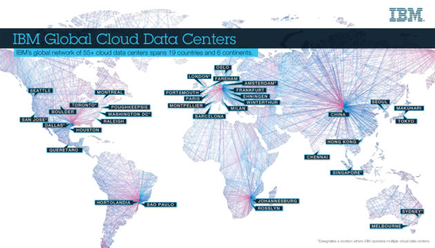 IBM's global data center footprint as of April 2017. (IBM Photo)