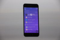 Microsoft shows off Windows Timeline running in the Cortana app on an iPhone. (GeekWire photo / Todd Bishop)