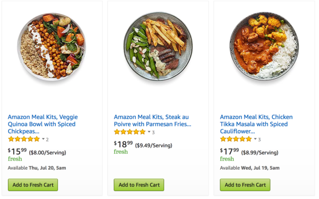 We made dinner at home with amazon meal kits the tech giants new there are 42 meal options in the fresh meal kits category under grocery gourmet food 17 of which are made by amazon the other 25 are from tyson forumfinder Choice Image