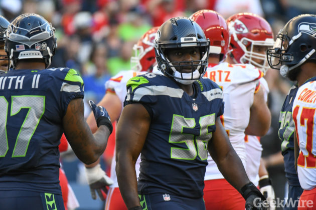 a9add0e9b26 Seahawks defensive end Cliff Avril wears the new Vicis helmet during  Seattle s 26-13 win over Kansas City last week. (GeekWire photos   Kevin  Lisota)