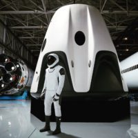 SpaceX spacesuit and Dragon spaceship