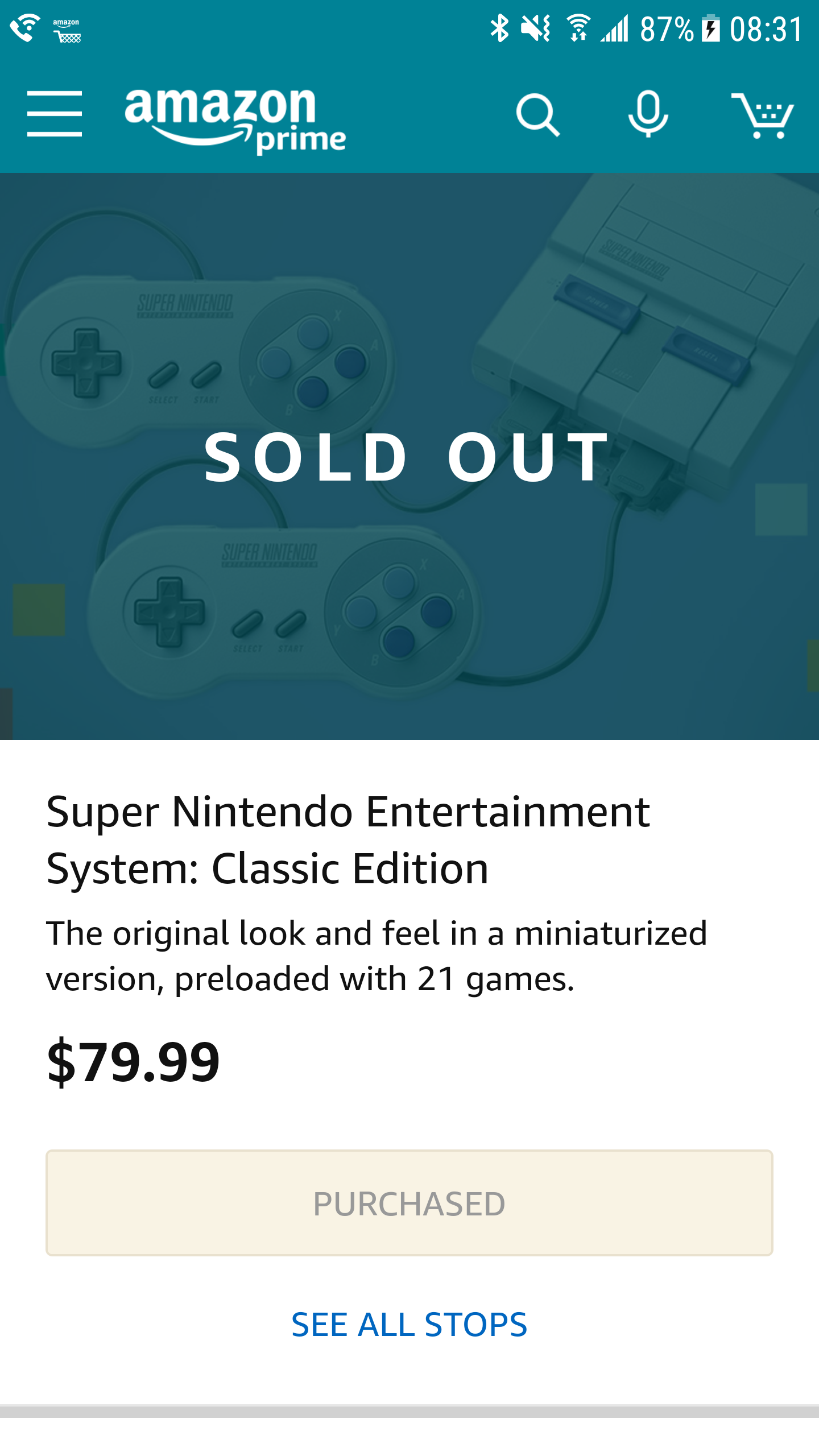SNES Classic Edition quickly sold out this morning at the Amazon Treasure Truck