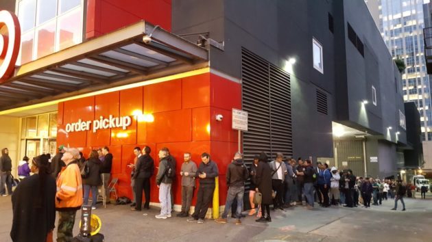 Ninety shoppers were waiting outside to buy the Super NES Classic Edition at the Target in downtown Seattle, Wash., at 6:50 this morning. (Photo by Tim Ellis)