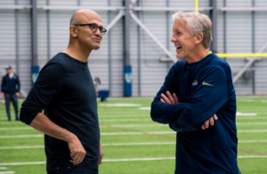 Pete Carroll and Satya Nadella