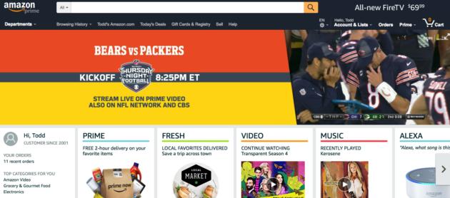 67c35033b Thursday Night Football autoplayed on the Amazon homepage. (Screenshot Via  Amazon)