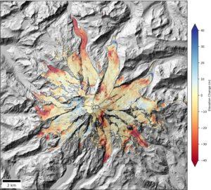Mount Rainier elevation change