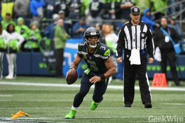 027ed21bd Seattle Seahawks quarterback Russell Wilson scrambles during a 12-9 win  over San Francisco earlier this season. (GeekWire photo   Taylor Soper)