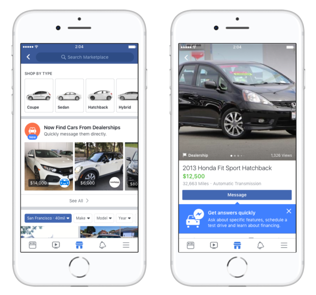 Facebook takes another step into P2P, launches marketplace for cars