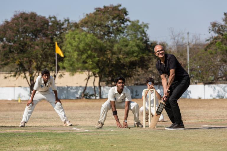 Microsoft CEO Satya Nadella plays cricket. (Microsoft Photo)