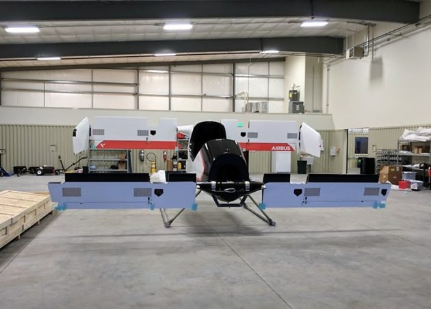 Vahana aircraft inside hangar