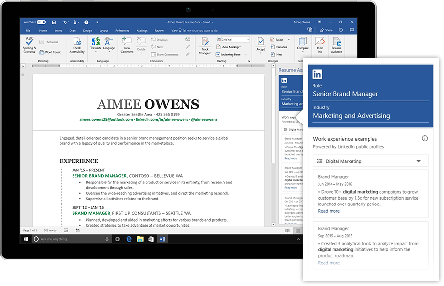 microsofts new resume assistant uses linkedin data to help people write better resumes in word