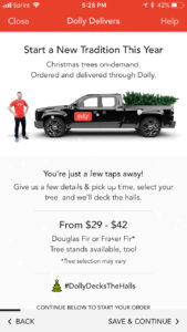 Dolly tree delivery