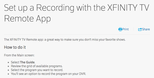 Comcast subscribers lose ability to set DVR recordings via