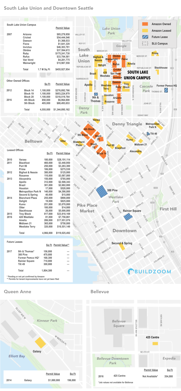 Amazon South Lake Union Campus Map.Building Permit Analysis Sheds Light On How Much Amazon Has Spent On