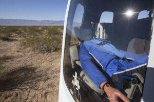 Test dummy in crew capsule