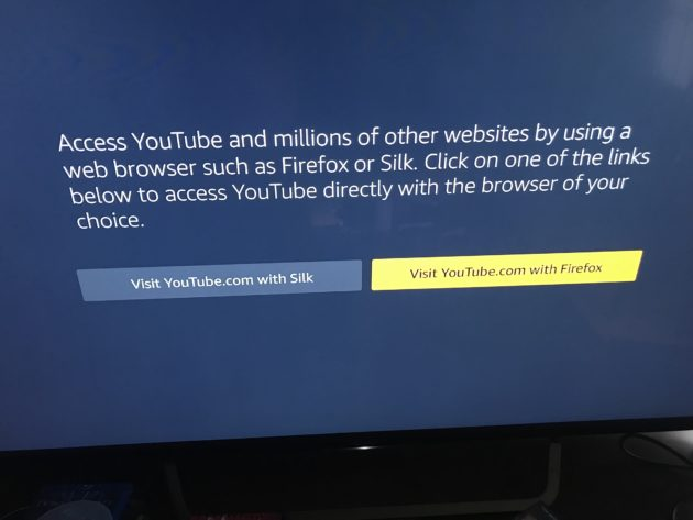 YouTube has been deactivated on the Fire TV four days early