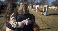 Mourners at astronaut memorials