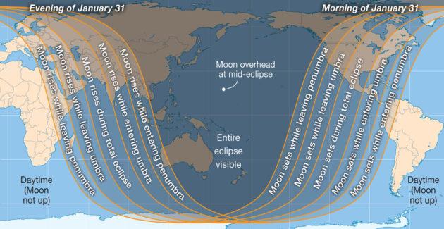 Lunar eclipse visibility
