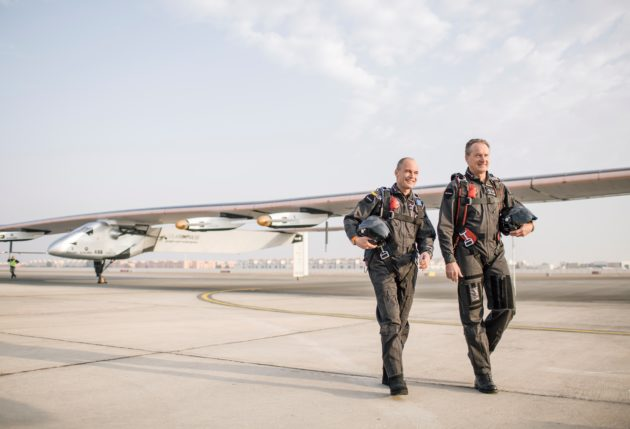 Solar Impulse 2 and pilots