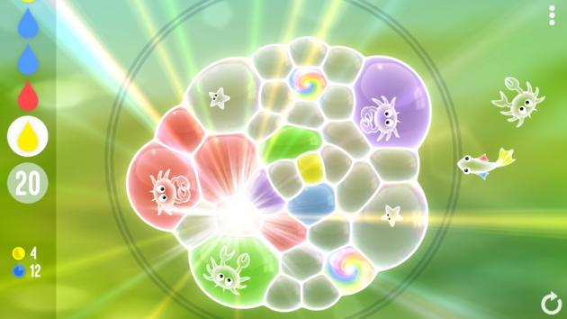 An in-progress puzzle in the game Tiny Bubbles