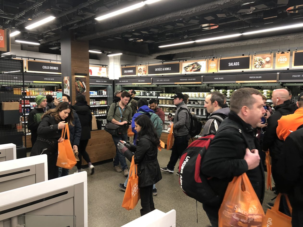 amazon go automated retail store handles a crowd on opening morning and the only line was. Black Bedroom Furniture Sets. Home Design Ideas