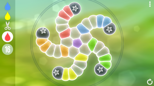 The beginning state of a puzzle in the game Tiny Bubbles