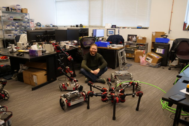 geekwires nat levy among the robots on his tour of pittsburghs robotics row geekwire photo