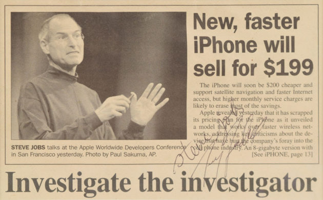 Steve Jobs news clipping