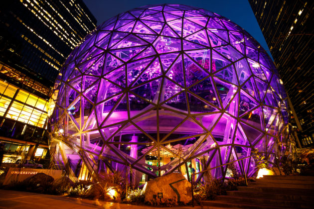Amazonu0027s Spheres Glow Purple On Friday Night In Seattle As The Company  Joined Others In Marking 100 Days Until The Special Olympics USA Games  Begin In The ...