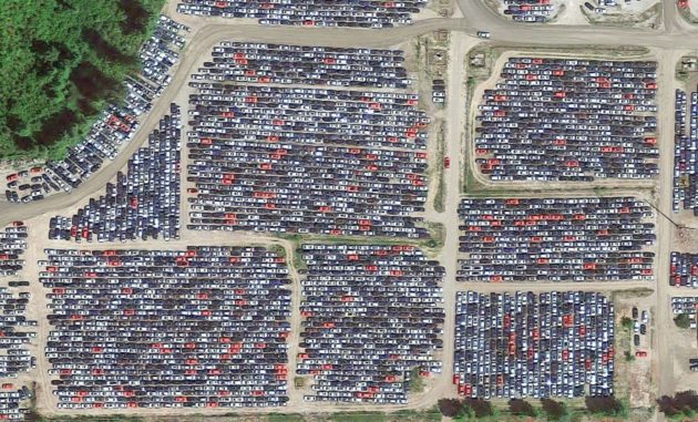A closer look at thousands of diesel VWs awaiting their fate in massive parking lots in Elma, Washington