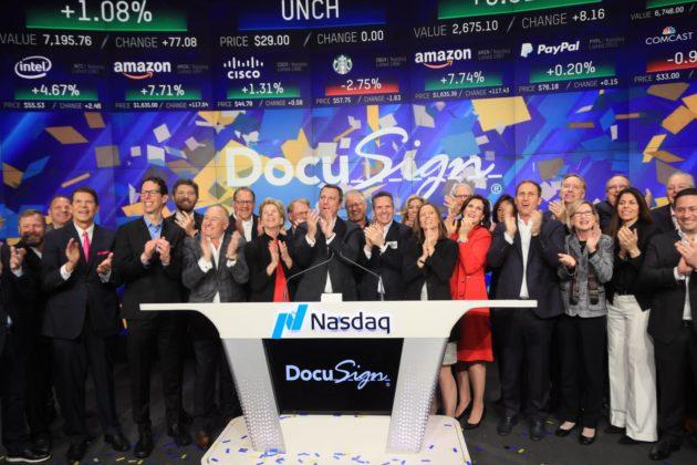 cbf4791d DocuSign rang the opening bell for the Nasdaq Stock Market. (Nasdaq Photo)
