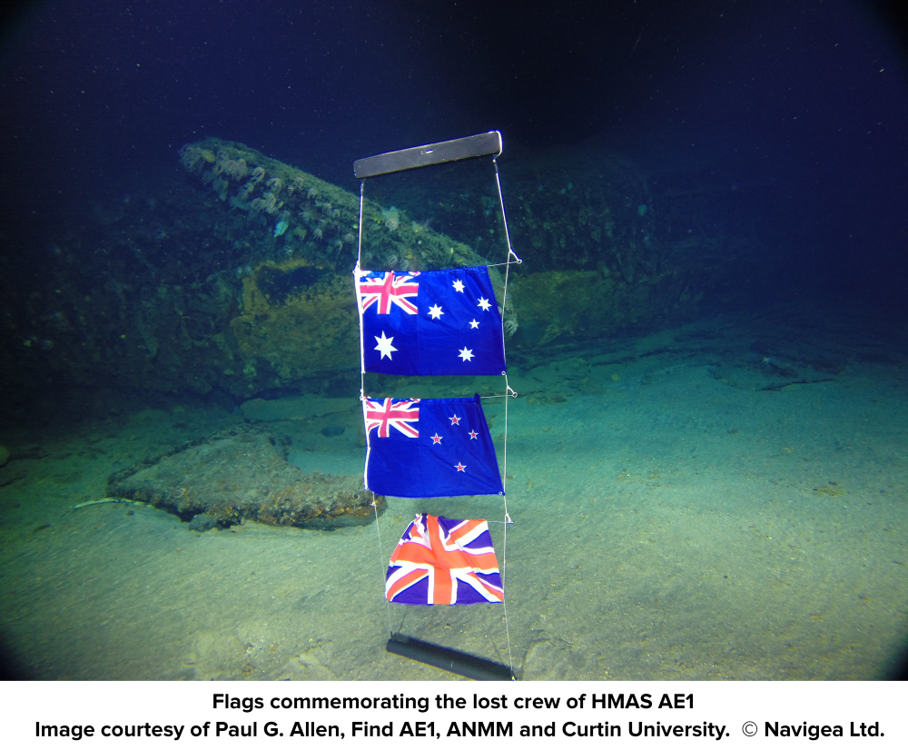 Commemorative flags on seafloor