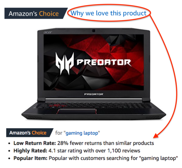 "On mobile devices the ""Amazon's Choice"" selection criteria for specific products are accessible via a new ""Why we love this product"" link"